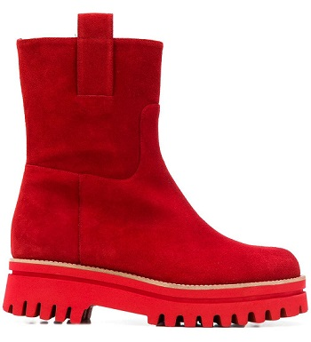 ankle boot red suede