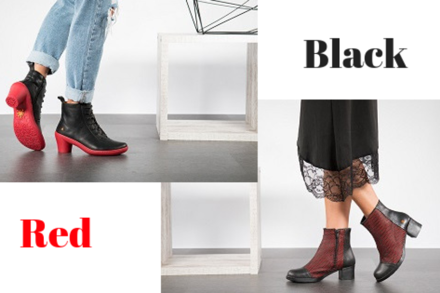 Red and Black Ankle Boots